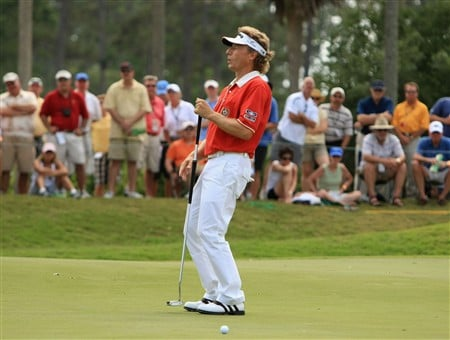 PONTE VEDRA BEACH, FL - MAY 10:  Bernhard Langer of Germany reacts to a missed eagle putt on the second green during the third round of THE PLAYERS Championship on THE PLAYERS Stadium Course at TPC Sawgrass on May 10, 2008 in Ponte Vedra Beach, Florida.  (Photo by Richard Heathcote/Getty Images)
