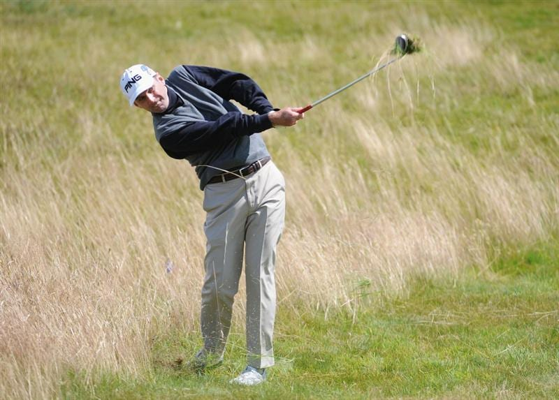 TURNBERRY, SCOTLAND - JULY 19:  Kevin Sutherland of USA hits out of the rough during the final round of the 138th Open Championship on the Ailsa Course, Turnberry Golf Club on July 19, 2009 in Turnberry, Scotland.  (Photo by Harry How/Getty Images)