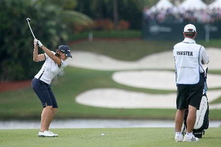 WEST PALM BEACH, FL - NOVEMBER 17:  Juli Inkster hits a shot on the ninth hole during the third round of the 2007 ADT Championship at the Trump International Golf Club on November 17, 2007 in West Palm Beach, Florida  (Photo by Scott Halleran/Getty Images)