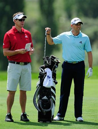MADRID, SPAIN - MAY 26:  Sergio Garia of Spain and caddie Glen Murray during the Pro-Am of the Madrid Masters at Real Sociedad hipica Espanola club de campo on May 26, 2010 in Madrid, Spain.  (Photo by Stuart Franklin/Getty Images)