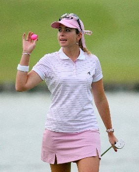 SINGAPORE - MARCH 02:  Paula Creamer of the USA waves to the gallery on the 18th green during the final round of the HSBC Women's Champions at Tanah Merah Country Club on March 2, 2008 in Singapore.  (Photo by Scott Halleran/Getty Images)