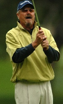 Gary McCord reacts after a missed birdie attempt on the third hole during the final round of the Champions' Tour 2005 SBC Classic at  the Valencia Country Club in Valencia, California March 13, 2005.