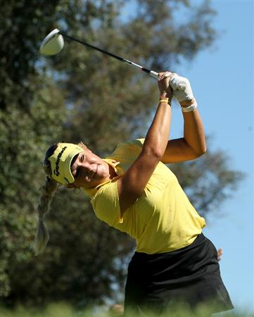 RANCHO MIRAGE, CA - MARCH 31:  Natalie Gulbis hits her tee shot on the 16th hole during the first round of the Kraft Nabisco Championship at Mission Hills Country Club on March 31, 2011 in Rancho Mirage, California.  (Photo by Stephen Dunn/Getty Images)