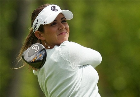 CORNING, NY - MAY 23:   Erica Blasberg watches her tee shot on the 14th hole during the second round of the LPGA Corning Classic at Corning Country Club on May 23, 2008 in Corning, New York.  (Photo by Kyle Auclair/Getty Images)