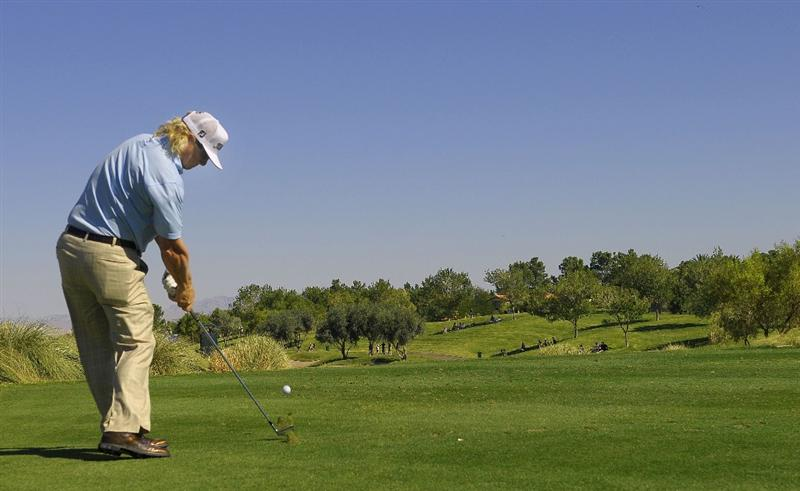 LAS VEGAS - OCTOBER 17:   Charley Hoffman tees off the par three 17th hole during the third round of the Justin Timberlake Shriners Hospitals for Children Open at the TPC Summerlin on October 17, 2009  in Las Vegas, Nevada. (Photo by Marc Feldman/Getty Images)