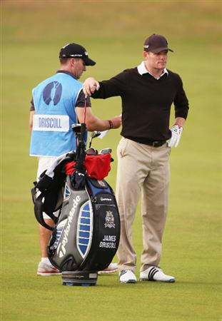 TURNBERRY, SCOTLAND - JULY 15:   James Driscoll of USA pulls a club during a practice round prior to the 138th Open Championship on the Ailsa Course, Turnberry Golf Club on July 15, 2009 in Turnberry, Scotland.  (Photo by Warren Little/Getty Images)