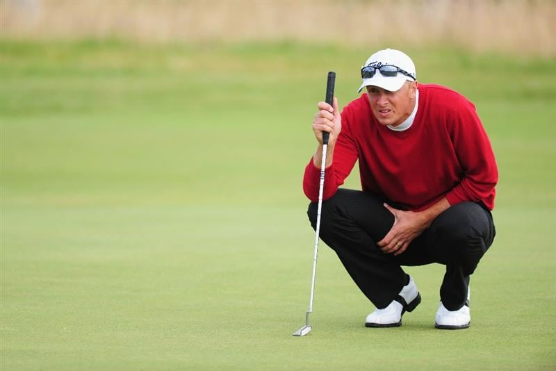 TURNBERRY, SCOTLAND - JULY 19:  Fredrik Andersson Hed of Sweden lines up a putt during the final round of the 138th Open Championship on the Ailsa Course, Turnberry Golf Club on July 19, 2009 in Turnberry, Scotland.  (Photo by Stuart Franklin/Getty Images)