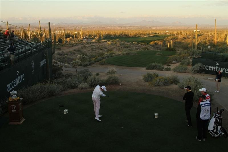 MARANA, AZ - FEBRUARY 20:  Oliver Wilson of England tees off on the first tee box during round four of the Accenture Match Play Championship at the Ritz-Carlton Golf Club on February 20, 2010 in Marana, Arizona.  (Photo by Darren Carroll/Getty Images)