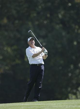 TIMONIUM, MD - OCTOBER 03:  Jay Haas hits his second shot on the 16th hole during the third round of the Constellation Energy Senior Players Championship at Baltimore Country Club/Five Farms (East Course) held on October 3, 2009 in Timonium, Maryland  (Photo by Michael Cohen/Getty Images)
