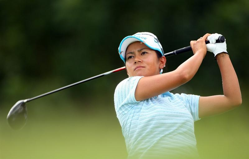 SINGAPORE - MARCH 04:  Ai Miyazato of Japan tees off on the 15th hole during the Pro-Am prior to the start of the HSBC Women's Champions at Tanah Merah Country Club on March 4, 2009 in Singapore.  (Photo by Andrew Redington/Getty Images)