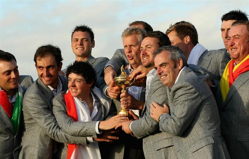 NEWPORT, WALES - OCTOBER 04:  European Team Captain Colin Montgomerie poses with the Ryder Cup and his team following Europe's 14.5 to 13.5 victory over the USA at the 2010 Ryder Cup at the Celtic Manor Resort on October 4, 2010 in Newport, Wales.  (Photo by Ross Kinnaird/Getty Images)