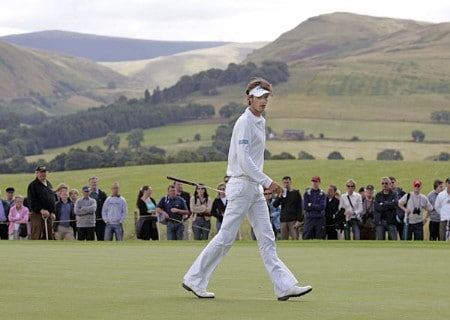 Nicolas Colsaerts on the 4th green during the 2005 Johnnie Walker Championship's Final Round on August 7, 2005 in Gleneages, Scotland.Photo by Thomas Main/WireImage.com