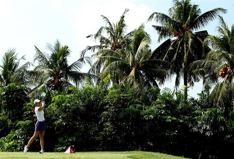 SINGAPORE - FEBRUARY 27:  Michelle Wie of the USA hits her tee-shot on the seventh hole during the third round of the HSBC Women's Champions at the Tanah Merah Country Club on February 27, 2010 in Singapore.  (Photo by Andrew Redington/Getty Images)