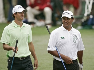 Adam Scott and Michael Campbell during practice for the 2007  Masters at the Augusta National Golf Club in Augusta, Georgia, on April 4, 2007. The 2007 Masters - Practice - April 4, 2007Photo by Sam Greenwood/WireImage.com