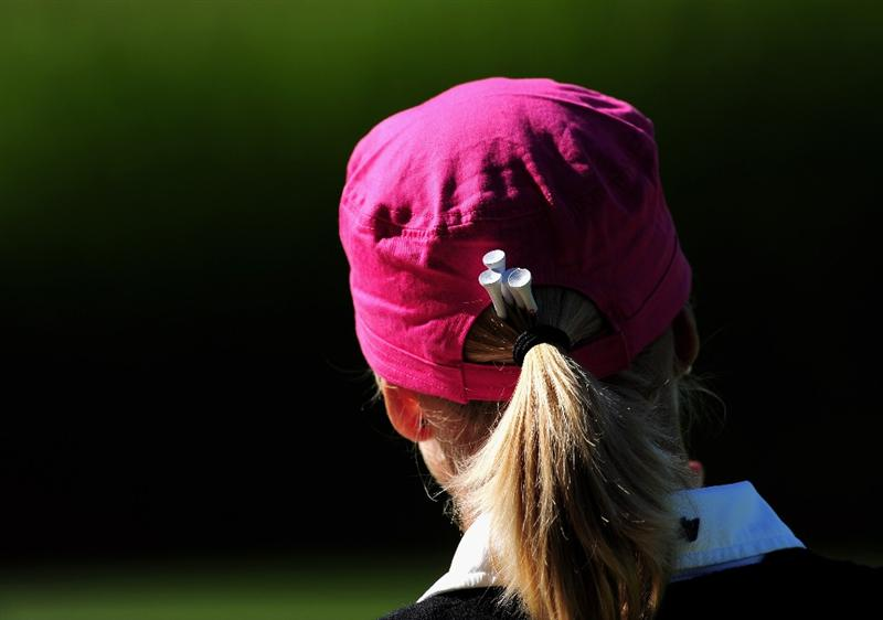 EVIAN-LES-BAINS, FRANCE - JULY 25: Anja Monke of Germany looks on during the third round of the Evian Masters at the Evian Masters Golf Club on July 25, 2009 in Evian-les-Bains, France.  (Photo by Stuart Franklin/Getty Images)