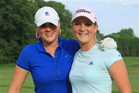 EDINA, MN - JUNE 25:  Amanda Blumenhurst and Anna Grzebien pose for a picture during a practice round prior to the start of the 2008 U.S. Women's Open at Interlachen Country Club on June 25, 2008 in Edina, Minnesota.  (Photo by Scott Halleran/Getty Images)