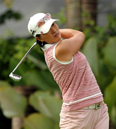 KUALA LUMPUR, MALAYSIA - OCTOBER 21:   Si Ri Pak of Korea Republic plays her tee shot on the 10th hole during the Sime Darby Pro-Am at the KLGCC Golf Course on October 21, 2010 in Kuala Lumpur, Malaysia (Photo by Stanley Chou/Getty Images)
