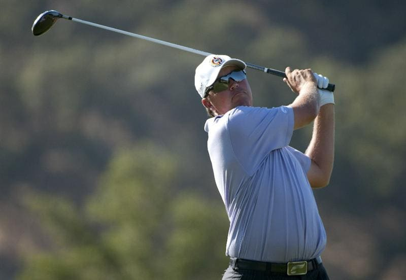 SAN MARTIN, CA - OCTOBER 15:  Bo Van Pelt hits a tee shot on the ninth hole during the second round of the Frys.com Open at the CordeValle Golf Club on October 15, 2010 in San Martin, California.  (Photo by Robert Laberge/Getty Images)