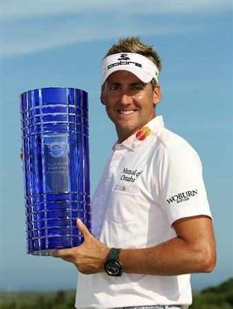 CASARES, SPAIN - MAY 22:  Ian Poulter of England with the winners trophy after the final of the Volvo World Match Play Championship at Finca Cortesin on May 22, 2011 in Casares, Spain.  (Photo by Ross Kinnaird/Getty Images)