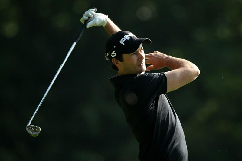 VIRGINIA WATER, ENGLAND - MAY 21:  Gareth Maybin of Northern Ireland reacts to a poor tee shot on the 2nd hole during the second round of the BMW PGA Championship on the West Course at Wentworth on May 21, 2010 in Virginia Water, England.  (Photo by Warren Little/Getty Images)