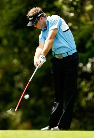 HILTON HEAD ISLAND, SC - APRIL 18:  Brian Gay hits a tee shot on the 5th hole during the third round of the Verizon Heritage at Harbour Town Golf Links on April 18, 2009 in Hilton Head Island, South Carolina.  (Photo by Streeter Lecka/Getty Images)
