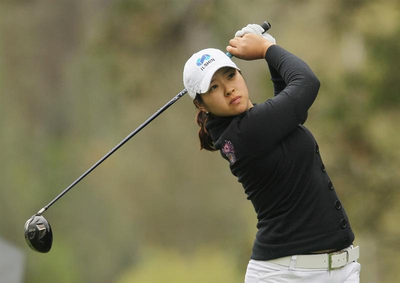 CITY OF INDUSTRY, CA - MARCH 26:  Mindy Kim hits her tee shot on the third hole during the third round of the Kia Classic on March 26, 2011 at the Industry Hills Golf Club in the City of Industry, California.  (Photo by Scott Halleran/Getty Images)