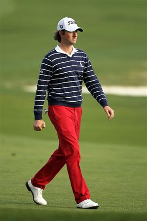 PEBBLE BEACH, CA - FEBRUARY 13:  Webb Simpson walks up the 18th fairway during round three of the AT&T Pebble Beach National Pro-Am at Pebble Beach Golf Links on February 13, 2010 in Pebble Beach, California.  (Photo by Ezra Shaw/Getty Images)