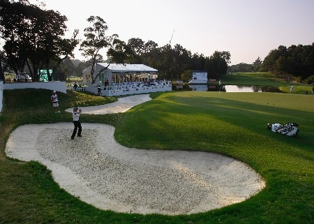 HONG KONG - NOVEMBER 16:  Daniel Chopra of Sweden plays his bunker shot on the 18th hole during the second round of the UBS Hong Kong Open at the Hong Kong Golf Club on November 16, 2007 in Fanling, Hong Kong.  (Photo by Stuart Franklin/Getty Images)