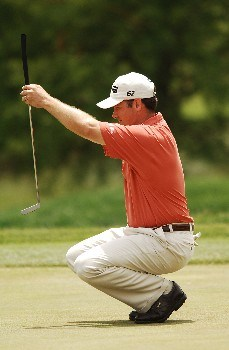 Ted Purdy lines up a putt on the 17th green the final round of the 2005 EDS Byron Nelson Championship at TPC Los Colinas in Los Colinas, Texas May 15, 2005.Photo by Steve Grayson/WireImage.com