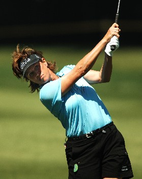 Rosie Jones hits her approach shot on the 9th fairway during the third round of the LPGA's 2005 Kraft Nabisco Championship, at Mission Hills Country Club in Rancho Mirage, California March 26, 2005.