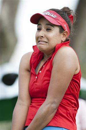 CHON BURI, THAILAND - FEBRUARY 18:  Mariajo Uribe of Colombia reacts on the 2nd tee during day two of the LPGA Thailand at Siam Country Club on February 18, 2011 in Chon Buri, Thailand.  (Photo by Victor Fraile/Getty Images)