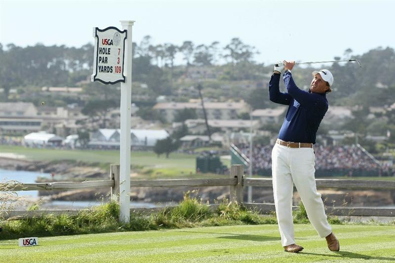 PEBBLE BEACH, CA - JUNE 19:  Phil Mickelson hits his tee shot on the seventh hole during the third round of the 110th U.S. Open at Pebble Beach Golf Links on June 19, 2010 in Pebble Beach, California.  (Photo by Jeff Gross/Getty Images)