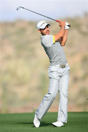 MARANA, AZ - FEBRUARY 20:  Camilo Villegas of Colombia plays his second shot on the ninth hole during round four of the Accenture Match Play Championship at the Ritz-Carlton Golf Club on February 20, 2010 in Marana, Arizona.  (Photo by Hunter Martin/Getty Images)