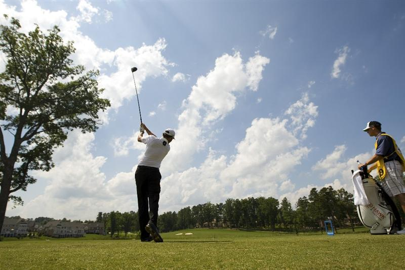 RALEIGH, NC - MAY 29: Rich Barcelo tee's off from the ninth hole during the second round of the Rex Hospital Open Nationwide Tour golf tournament at the TPC Wakefield Plantation on May 29, 2009 in Raleigh, North Carolina. (Photo by Chris Keane/Getty Images)
