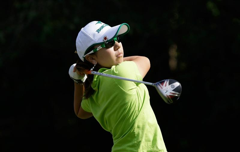 SHIMA, JAPAN - NOVEMBER 06:  Mika Miyazato of Japan plays a shot on the 9th hole during round two of the Mizuno Classic at Kintetsu Kashikojima Country Club on November 6, 2010 in Shima, Japan.  (Photo by Chung Sung-Jun/Getty Images)