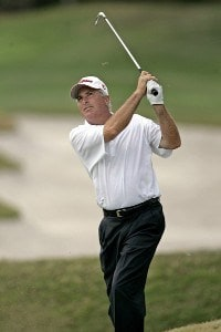 Curtis Strange hits from the 16th fairway during the second round of the Outback Steakhouse Pro-Am at the TPC of Tampa, Florida., Feb. 25, 2006.Photo by Hunter Martin/WireImage.com