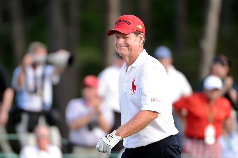 AUGUSTA, GA - APRIL 07:  Tom Watson smiles on the 18th green during the first round of the 2011 Masters Tournament at Augusta National Golf Club on April 7, 2011 in Augusta, Georgia.  (Photo by Harry How/Getty Images)