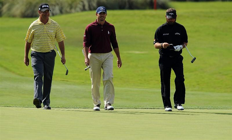 LAS VEGAS, NV - OCTOBER 21: (L to R) Ted Purdy, Jonathan Byrd and Alex Cejka walk up to the 17th hole during the first round of the Justin Timberlake Shriners Hospitals for Children Open on October 21, 2010 in Las Vegas, Nevada. (Photo by Steve Dykes/Getty Images)