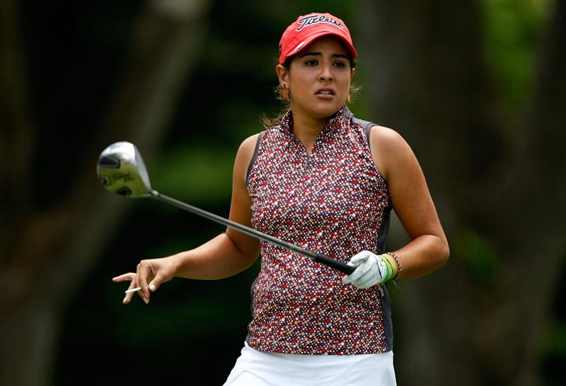 BETHLEHEM, PA - JULY 09:  Maria Jose Uribe of Colombia reacts to a tee shot during the first round of the 2009 U.S. Women's Open at Saucon Valley Country Club on July 9, 2009 in Bethlehem, Pennsylvania.  (Photo by Streeter Lecka/Getty Images)