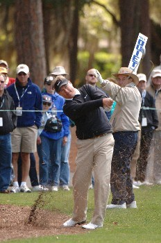 John Cook hits from the 15th fairway    during  the first round of the MCI Heritage at Harbour Town Golf Links April 14, 2005  at Hilton Head Island.Photo by Al Messerschmidt/WireImage.com