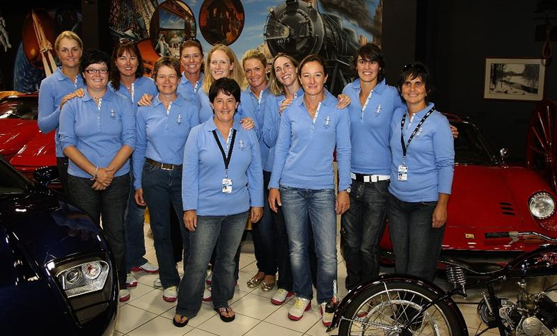 SUGAR GROVE, IL - AUGUST 17:  Members of the European Solheim Cup team pose inside the car museum on the grounds of Rich Harvest Farms, host site of the 2009 Solheim Cup on August 17, 2009 in Sugar Grove, Illinois.  (Photo by David Cannon/Getty Images)