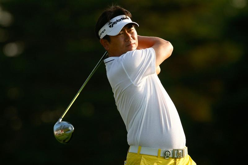 CHASKA, MN - AUGUST 11:  Y.E. Yang of South Korea hits a shot during the second preview day of the 91st PGA Championship at Hazeltine Golf Club on August 11, 2009 in Chaska, Minnesota.  (Photo by Scott Halleran/Getty Images)