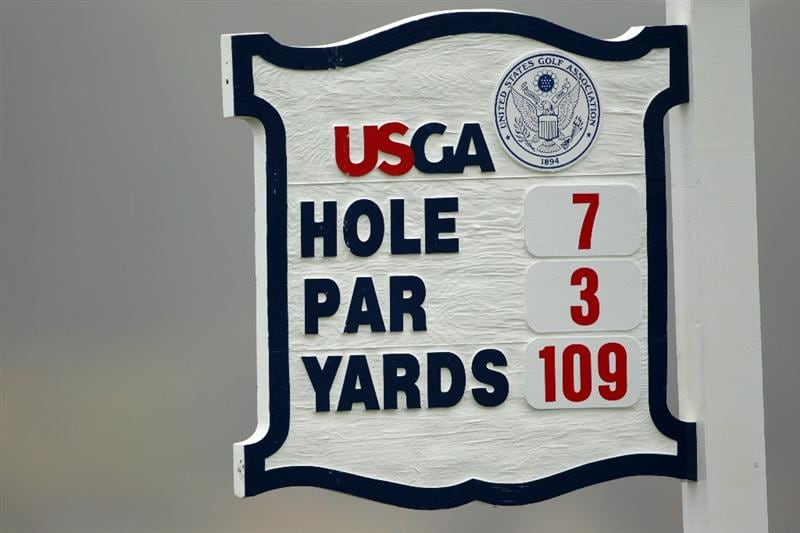 PEBBLE BEACH, CA - JUNE 14:  A yardage sign for the seventh hole is seen during a practice round prior to the start of the 110th U.S. Open at Pebble Beach Golf Links on June 14, 2010 in Pebble Beach, California.  (Photo by Andrew Redington/Getty Images)