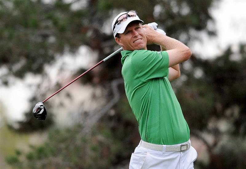 LAS VEGAS, NV - OCTOBER 22: John Senden of Australia hits his tee shot on the 7th hole during the second round of the Justin Timberlake Shriners Hospitals for Children Open on October 22, 2010 in Las Vegas, Nevada. (Photo by Steve Dykes/Getty Images)