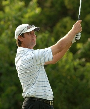Paul Azinger hits from the fifth tee during the first round of the 2005 Valero Texas Open at La Cantera in at La Cantera Country Club in San Antonio, Texas September 22, 2005.Photo by Steve Grayson/WireImage.com