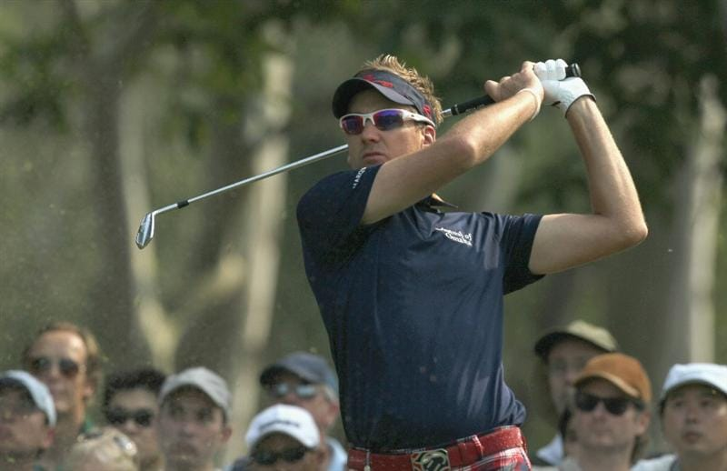 HONG KONG - NOVEMBER 19: Ian Poulter of England tees off on the 12th hole during day two of the UBS Hong Kong Open at The Hong Kong Golf Club on November 19, 2010 in Hong Kong, Hong Kong.  (Photo by Stanley Chou/Getty Images)