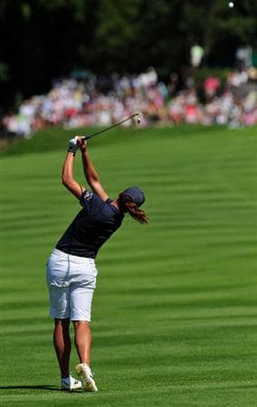 EVIAN-LES-BAINS, FRANCE - JULY 25: Sofie Gustafson of Sweden plays her approach shot on the 15th hole during the third round of the Evian Masters at the Evian Masters Golf Club on July 25, 2009 in Evian-les-Bains, France.  (Photo by Stuart Franklin/Getty Images)