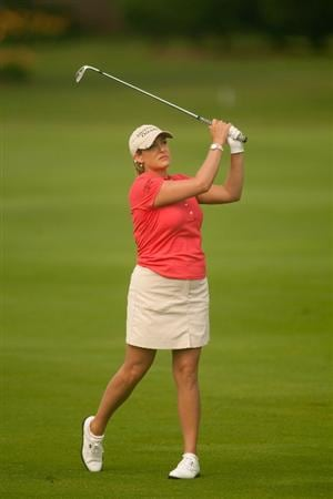 SPRINGFIELD, IL - JUNE 11: Cristie Kerr follows through on an approach shot during the second round of the LPGA State Farm Classic at Panther Creek Country Club on June 11, 2010 in Springfield, Illinois. (Photo by Darren Carroll/Getty Images)