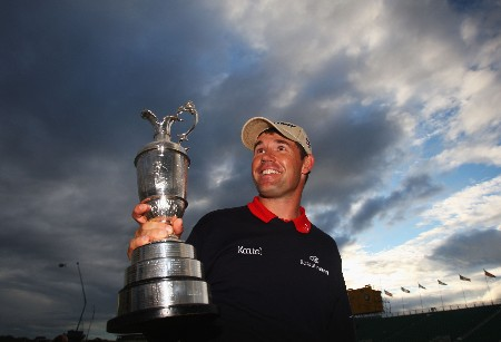 CARNOUSTIE, UNITED KINGDOM - JULY 22:  Padraig Harrington of Ireland celebrates with the Claret Jug after winning The 136th Open Championship at the Carnoustie Golf Club on July 22, 2007 in Carnoustie, Scotland.  (Photo by Stuart Franklin/Getty Images)