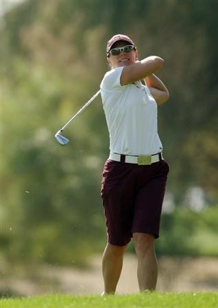 DUBAI, UNITED ARAB EMIRATES - DECEMBER 12:  Annika Sorenstam of Sweden hits her second shot at the 1st hole during the second round of the Dubai Ladies Masters on the Majilis Course at the Emirates Golf Club on December 12, 2008 in Dubai,United Arab Emirates  (Photo by David Cannon/Getty Images)